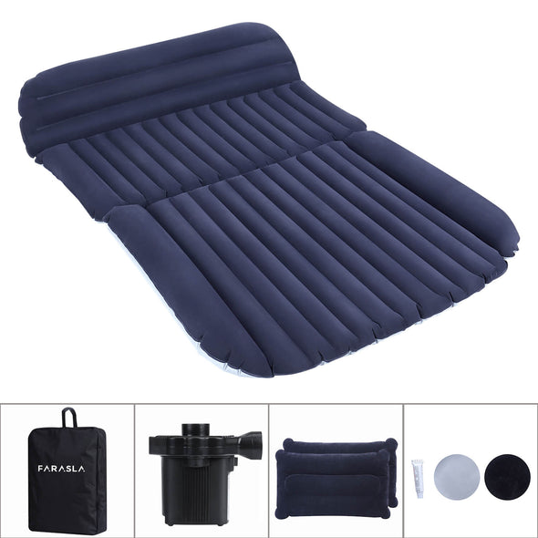 Upgraded Inflatable Car Air Mattress with Air Pillows, Pump, Repair Patch and Storage Bag - Camping in The Comfort of Your Own Vehicle