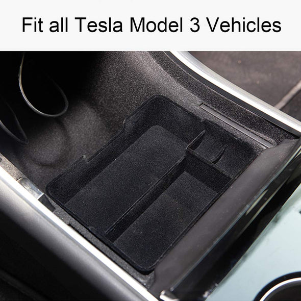 Farasla Tesla Model 3 Flocked Center Console Organizer Tray Accessoies with Coin and Sunglass Holder for Tesla Model 3