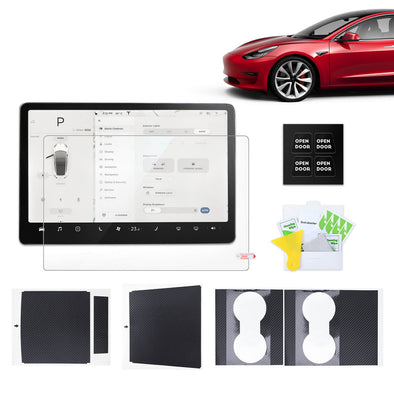 Must-Have Top 3 Interior Accessories For Model 3, Screen Protector & Center Console Wrap Kit & Open Door Stickers