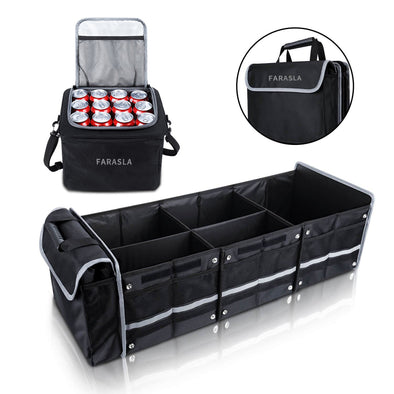 Farasla Collapsible Trunk Organizer Specially Adapted For Vehicles with Insulated Leakproof Cooler Bag (3-in-1 w/Cooler, Black)