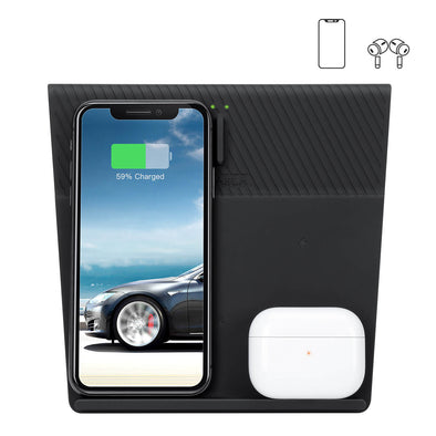 Farasla 2-in-1 Wireless Charger for Tesla Model 3, 4 Coils Wireless Charging Pad Compatible with All Qi-Enabled Phones and Earbuds