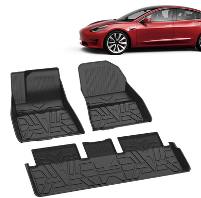 【Clearance Sale】All Weather Floor Mats for Model 3 Durable Flexible Odorless TPE Material Non-Slip Protective Cover