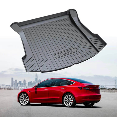 Farasla Fitted Trunk Covers For Vehicle Trunks Customized for Tesla Model 3 Cargo Liner Rear Cargo Tray Trunk Floor Mat Black Rubber Waterproof