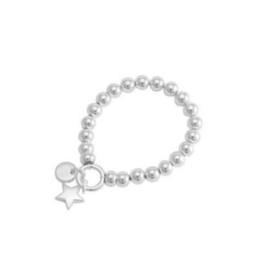 Bracelets are one of the hottest items of the season! Merx fashion bracelets are designed using high quality beads. The metal used is pewter, zinc or brass.  8mm silver beads with a silver star charm   Nickel free & lead free  Tarnish resistant  20cm