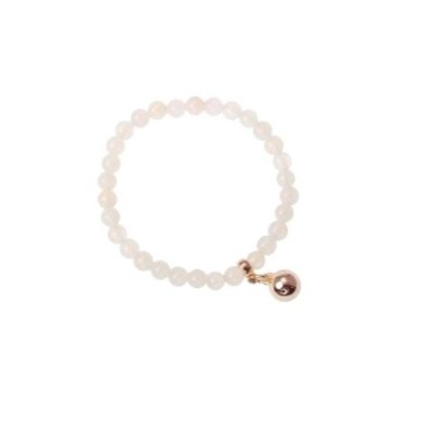 Bracelets are one of the hottest items of the season! Merx fashion bracelets are designed using high quality white agate beads. The light gold metal pieces used is pewter, zinc or brass.  This genuine white agate bracelet has a light gold bead charm   Nickel free & lead free  Tarnish resistant