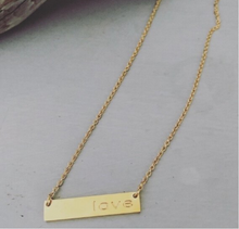 "Load image into Gallery viewer, These short necklaces are great for wearing on its own or with another longer necklace.   Gold or silver plated love bar   This necklace is 16"" in length with a 2"" extender"