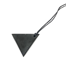 Load image into Gallery viewer, This black, lustrous, geometric shaped genuine shungite pendant, offers understated beauty with its clean lines.  It's on a black cord that allows you to select the length of the necklace. As a healing stone, it is called the stone of life and rejuvenation stone as it has tremendous healing and antibacterial qualities. It can charge water with cleansing energies and protects against electromagnetic radiation from things like computers and cell phones.