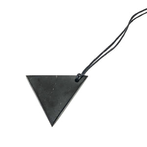 This black, lustrous, geometric shaped genuine shungite pendant, offers understated beauty with its clean lines.  It's on a black cord that allows you to select the length of the necklace. As a healing stone, it is called the stone of life and rejuvenation stone as it has tremendous healing and antibacterial qualities. It can charge water with cleansing energies and protects against electromagnetic radiation from things like computers and cell phones.