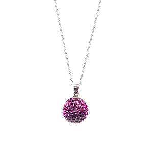 "15mm swarovski crystal ball pendant  These genuine fuschia swarovski crystals are set in a clay base  This sterling silver necklace is approx. 16"" in length"