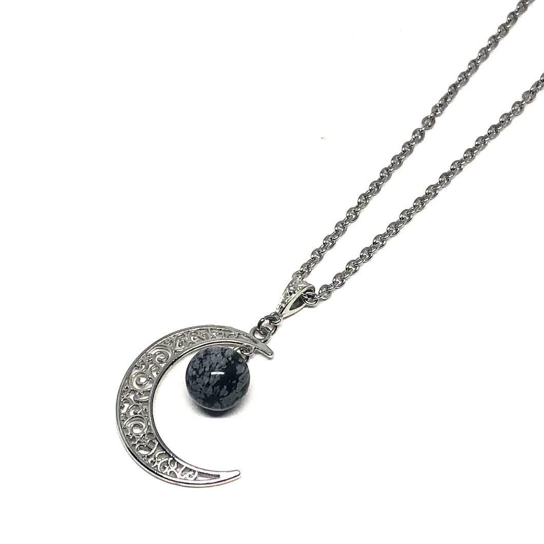 Genuine snowflake obsidian stone  Hypo-allergenic stainless steel chain  This necklace is adjustable to approximately 32