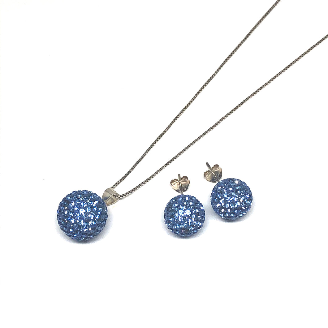 Light Sapphire Sparkle Ball Earring/Pendant Gift Set