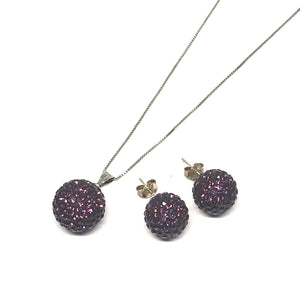 Amethyst Sparkle Ball Earring/Pendant Gift Set