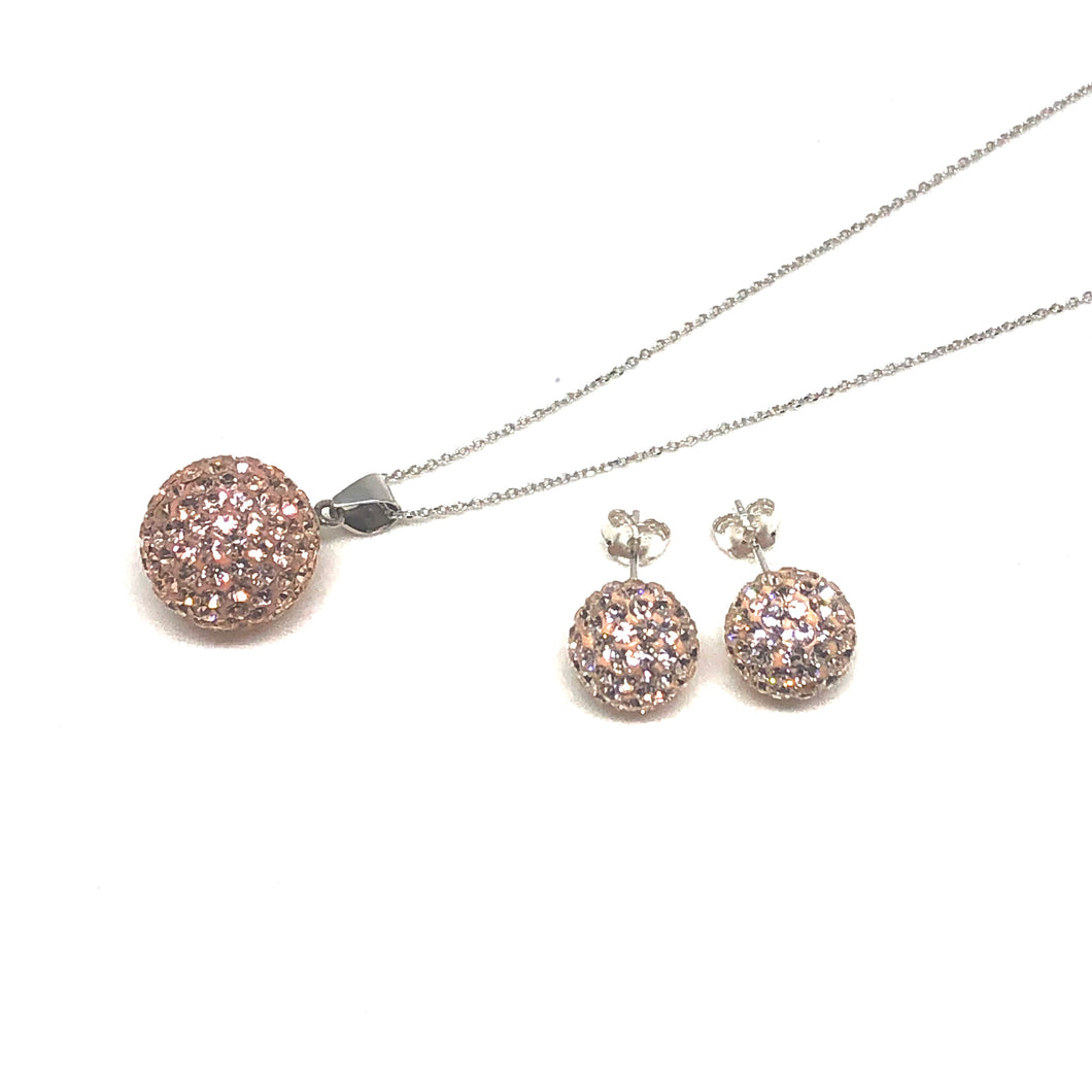 Champagne Sparkle Ball Earring/Pendant Gift Set