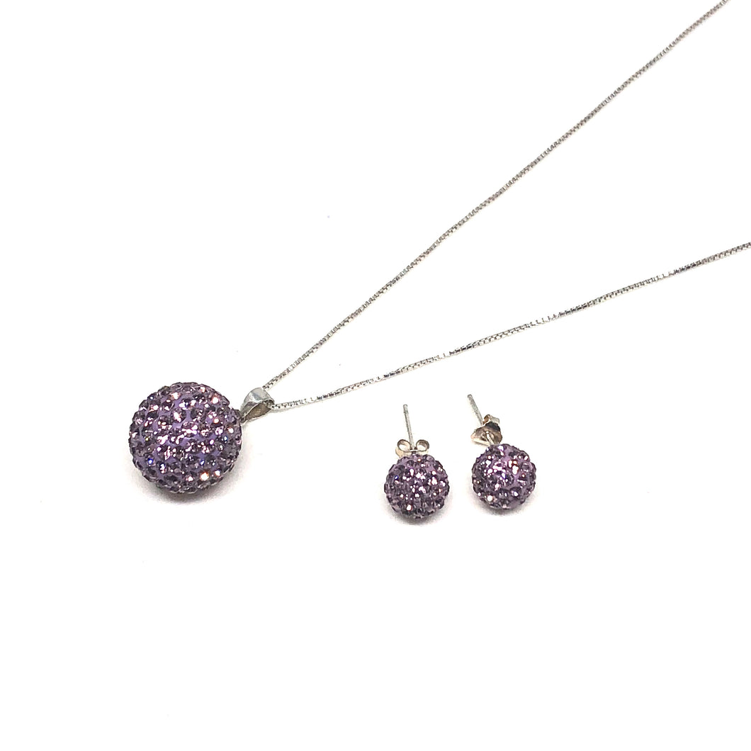 Light Amethyst Sparkle Ball Earring/Pendant Gift Set