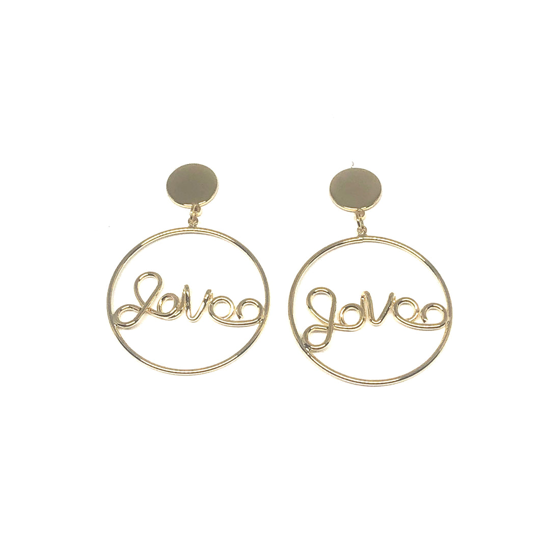 These trendy hoops are so much fun to wear. They have love written in the middle. Dress them up or down.  Lead and nickel free  Hypoallergenic  These hoops are 1.25