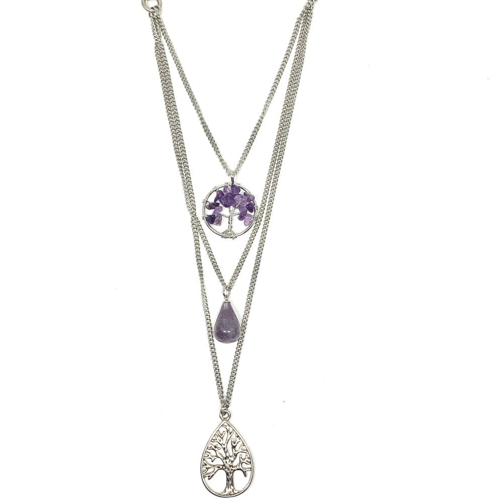 "One of our best sellers - this 3 layered amethyst tree of life necklace is the perfect accessory to wear with any outfit.  Genuine Amethyst Stone  Rhodium plated chains that will not tarnish  This necklace is 21"" in length but will sit at approx. 24""  Designed and handcrafted by Canadian artisan"