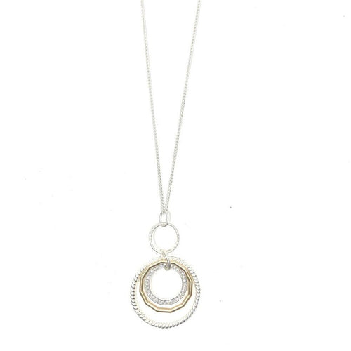 "Discover eye-catching, straight-off-the-runway inspired pieces. One statement piece, infinite possibilities…  Merx Modern is exclusively designed and handmade in Canada.  This necklace is a matte silver, matte gold and a circle of crystals.   This necklace length is 30"" + 3"" extender & clasp  Pendant is 3"" x 2"""