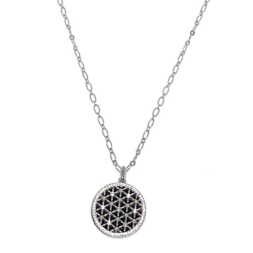 "Discover eye-catching, straight-off-the-runway inspired pieces. One statement piece, infinite possibilities…  Merx Modern is exclusively designed and handmade in Canada.  This beautifully designed necklace has silver filigree on top of black epoxy.   This necklace length is 32"" + 3"" extender & clasp  Pendant is 1.5"" x 1.5"""