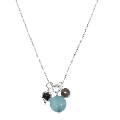 "Discover eye-catching, straight-off-the-runway inspired pieces. One statement piece, infinite possibilities…  Merx Modern is exclusively designed and handmade in Canada.  This necklace is Silver & mint green stone + grey agate beads on a ball linked chain  This necklace length is 30"" + 2.5"" extender"