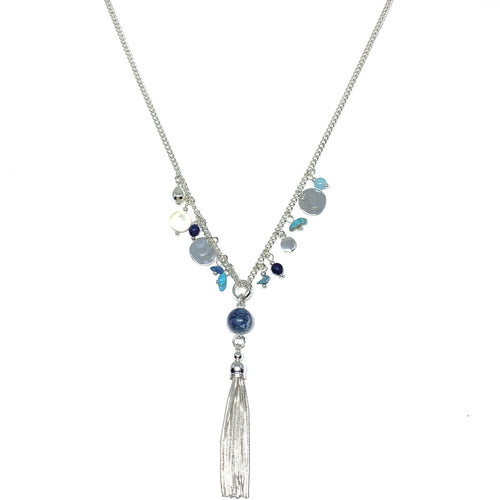 "Discover eye-catching, straight-off-the-runway inspired pieces. One statement piece, infinite possibilities…  Merx Modern is exclusively designed and handmade in Canada.  This silver chain necklace has blue & turquoise semi-precious stones and the length is 30"" + 2"" extender & clasp  The tassel hangs down 4"""