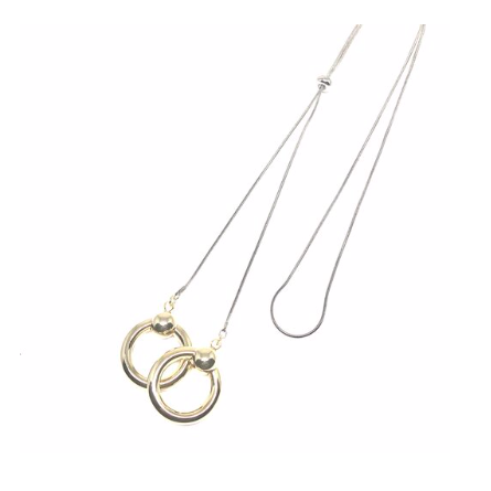 "Discover eye-catching, straight-off-the-runway inspired pieces. One statement piece, infinite possibilities…  Merx Modern is exclusively designed and handmade in Canada.  This fashionable necklace is very light weight with two double ring pendants.    This double ring necklace is adjustable with a total length of 30""  Each ring pendant is 1"" x 1"""