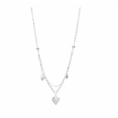 "Discover eye-catching, straight-off-the-runway inspired pieces. One statement piece, infinite possibilities…  Merx Modern is exclusively designed and handmade in Canada.  This silver heart short necklace is layered and has silver hearts hanging around the necklace   This short layered is 20"" + 2"" extender & clasp"