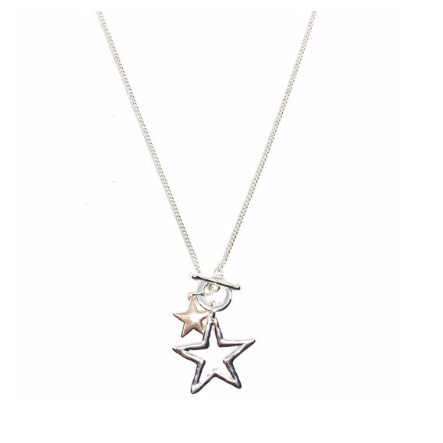 "Discover eye-catching, straight-off-the-runway inspired pieces. One statement piece, infinite possibilities…  Merx Modern is exclusively designed and handmade in Canada.  Shiny silver & rose gold   This necklace has a double star pendant - small star is rose gold and the larger hollow star is silver.  The chain is silver.   This necklace length is 35"" (including star pendant) with a toggle closure  Star is 2""x2"""