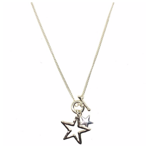 "Discover eye-catching, straight-off-the-runway inspired pieces. One statement piece, infinite possibilities…  Merx Modern is exclusively designed and handmade in Canada.  Shiny silver & light gold   This necklace has a double star pendant - small star is silver and the larger hollow star is light gold.  The chain is light gold.   This necklace length is 35"" (including star pendant) with a toggle closure  Star is 2""x2"""