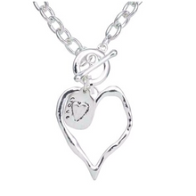 Load image into Gallery viewer, Silver Heart with Love Charm Short Necklace
