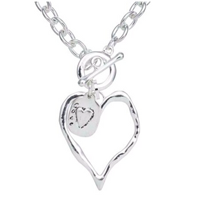 Silver Heart with Love Charm Short Necklace