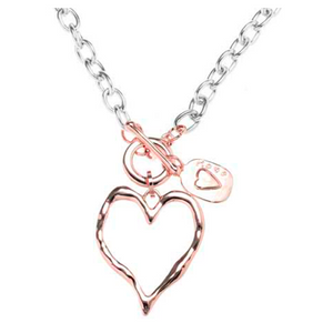 Rose Gold Heart With Charm Short Necklace