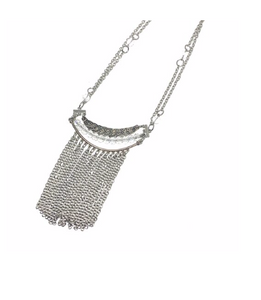 "This fringe necklace is the perfect accessory to wear with a turtleneck sweater  Rhodium plated, so will not tarnish  This necklace is 20"" with a white gold plated toggle clasp  Hypoallergenic"