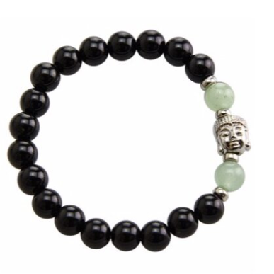 Stretchable bracelet with two green aventurine beads surrounding a Buddha charm. Accented with black onyx beads.As a healing stone, black onyx is thought to increase regeneration, happiness, intuition and instincts.  Includes:  1 bracelet, 18 cm in circumference with stretch cord, 9 mm beads