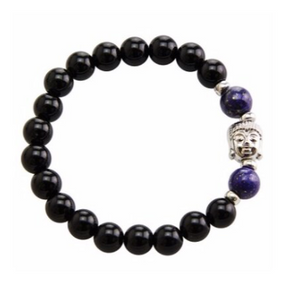 Stretchable bracelet with two lapis lazuli beads surrounding a Buddha charm. Accented with black onyx beads.As a healing stone, black onyx is thought to increase regeneration, happiness, intuition and instincts.  Includes:  1 bracelet, 18 cm in circumference with stretch cord, 9 mm beads