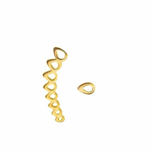 This unique 925 sterling silver ear climber has a single teardrop that is worn in one ear and the ear climber is worn in the other  14K Gold Plated  Lead and nickel free  Hypoallergenic