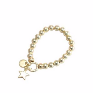 Bracelets are one of the hottest items of the season! Merx fashion bracelets are designed using high quality beads. The metal used is pewter, zinc or brass.   This light gold 8mm bead bracelet has a light gold star charm   Nickel free & lead free.    Tarnish resistant.   20cm