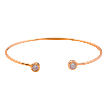 This 925 sterling silver cuff bangle is the perfect complement to any outfit. Can be worn stacked or on its own.  High quality cubic zirconia on each side of bangle.  Sterling silver with 14K Rose Gold plated  Lead, nickel free, tarnish resistant  58mm