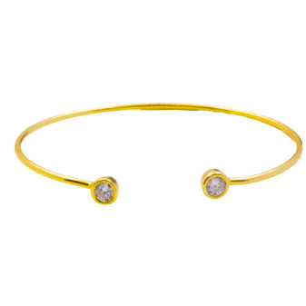 This 925 sterling silver cuff bangle is the perfect complement to any outfit. Can be worn stacked or on its own.  High quality cubic zirconia on each side of bangle.  Sterling silver with 14K gold plated  Lead, nickel free, tarnish resistant  58mm