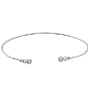 This 925 sterling silver cuff bangle is simple and elegant.  Size: 50mm  Rhodium Plated  Bracelet has 3 high quality cubic zirconia on each side  Hypoallergenic