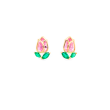 Load image into Gallery viewer, Very delicate 925 sterling silver with pink and green stones.  14K Gold plated. Lead and nickel free. Hypoallergenic. Size of these studs are 10mm x 7mm