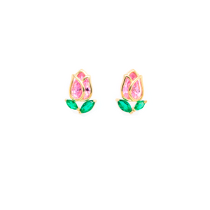 Very delicate 925 sterling silver with pink and green stones.  14K Gold plated. Lead and nickel free. Hypoallergenic. Size of these studs are 10mm x 7mm