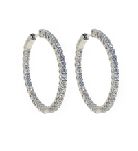Load image into Gallery viewer, Simple yet elegant these 925 sterling silver high quality cubic zirconia hoops are perfect for complimenting your night-out outfits and special occasions. Make these stunning sterling silver earrings the focal point of your look and draw attention from every angle.  Hypoallergenic, lead and nickel free   Size: 35mm
