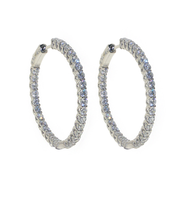 Simple yet elegant these 925 sterling silver high quality cubic zirconia hoops are perfect for complimenting your night-out outfits and special occasions. Make these stunning sterling silver earrings the focal point of your look and draw attention from every angle.  Hypoallergenic, lead and nickel free   Size: 35mm