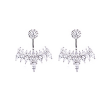 Load image into Gallery viewer, These stunning 925 sterling silver ear jackets are perfect for that special night out.   High quality cubic zirconia   Rhodium plated   Hypoallergenic   Lead and nickel free   Size: 27mm x 24mm