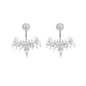 These stunning 925 sterling silver ear jackets are perfect for that special night out.   High quality cubic zirconia   Rhodium plated   Hypoallergenic   Lead and nickel free   Size: 27mm x 24mm