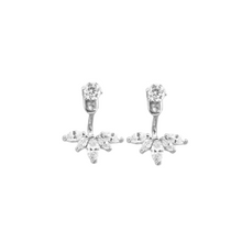 Load image into Gallery viewer, These earring jackets are simply beautiful to wear.  925 sterling silver with high quality cubic zirconia    We carry either rhodium plated or 14K Rose Gold plated   Hypoallergenic and lead and nickel free