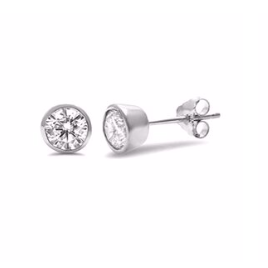 These sterling silver bezel studs are Rhodium plated.  Hypoallergenic, sterling silver back and posts, lead and nickel free  5mm in size
