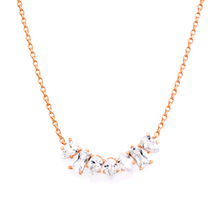 "Load image into Gallery viewer, This beautiful 925 sterling silver necklace is the perfect addition to your outfit. This necklace contains both pear and baguette shaped cubic zirconia.  14K Rose Gold Plated  This necklace is 16"" with a 2"" extender.  Pendant: 710mm x 23mm  Nickel and lead free."