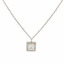 Load image into Gallery viewer, This sterling silver necklace is very simple but very dainty.  You can dress up your favourite black dress with this beautiful necklace.  The sterling silver chain is 18 inches with a 2 inch extender  Sterling Silver   Cubic Zirconia   Hypoallergenic   Lead and nickel free