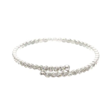This elegant crystal bangle can be worn on its own or stacked with other bracelets.  Can be worn with your favourite jean outfit or your evening dress.   1 Row of Crystals   Lead & nickel free   Rhodium plated, tarnish resistant